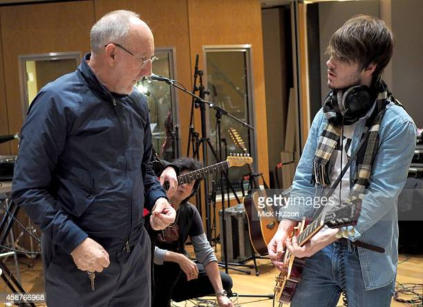 Pete Townshend and Josh McClorey during rehearsals for The Who's 50th Anniversary Gig for The Teenage Cancer Trust at British Grove Studios on...