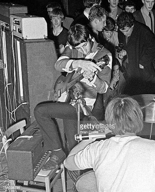 Pete Townshend and Keith Moon of The Who perform on stage at the Queen's Hall Leeds on 14th October 1966.