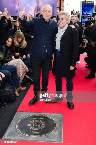 Pete Townshend and Roger Daltrey from The Who attend the Music Walk Of Fame Founding Stone Unveiling at The Jazz Cafe on November 19 2019 in London...