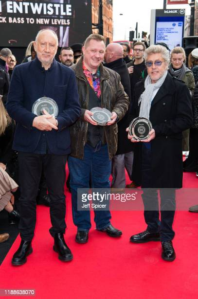 Pete Townshend and Roger Daltrey from The Who pictured with Chris Entwistle attend the Music Walk Of Fame Founding Stone Unveiling at The Jazz Cafe...