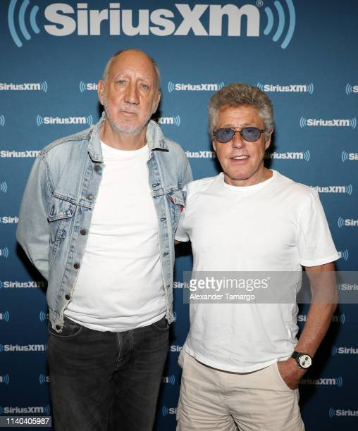 "Pete Townshend and Roger Daltrey of the band ""The Who"" are seen during a SiriusXM town hall at G Star School of the Arts on April 30, 2019 in Palm..."