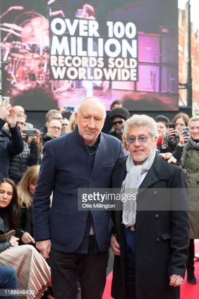 Pete Townshend and Roger Daltrey of The Who at the Music Walk Of Fame for their Founding Stone Unveiling on Camden High Street on November 19 2019 in...
