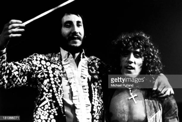 Pete Townshend and Roger Daltrey of The Who during the stage version of Tommy at the Rainbow Theatre London 9th December 1972