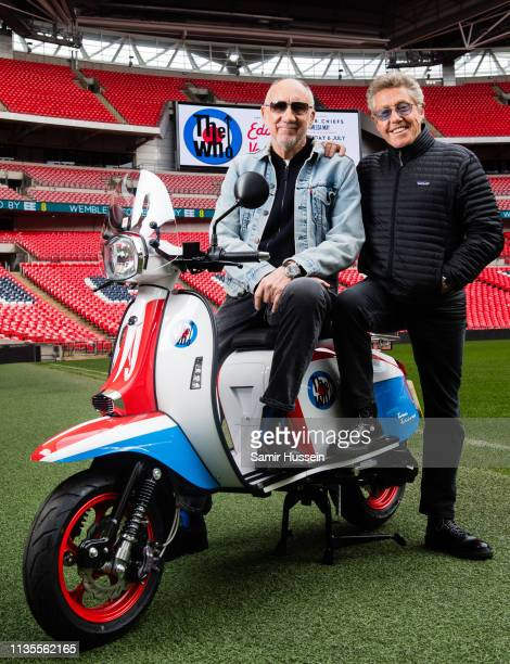 Pete Townshend and Roger Daltrey of The Who pose at Wembley Stadium to promote their summer concert there on March 13, 2019 in London, England.