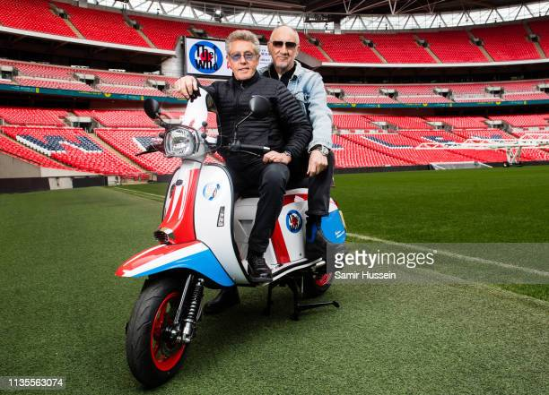 Pete Townshend and Roger Daltrey of The Who pose at Wembley Stadium to promote their summer concert at Wembley Stadium on March 13 2019 in London...