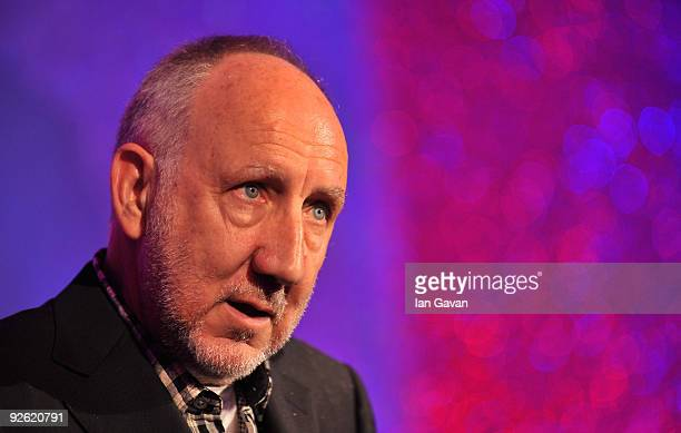 Pete Townshend from the rock band The Who speaks onstage during the Classic Rock Roll Of Honour Awards at the Park Lane Hotel on November 2 2009 in...