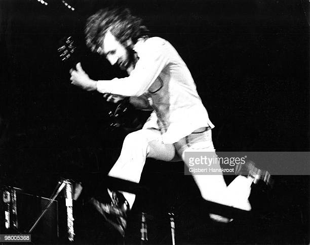 Pete Townshend from The Who performs live on stage at Oval Cricket Ground in London on September 18 1971