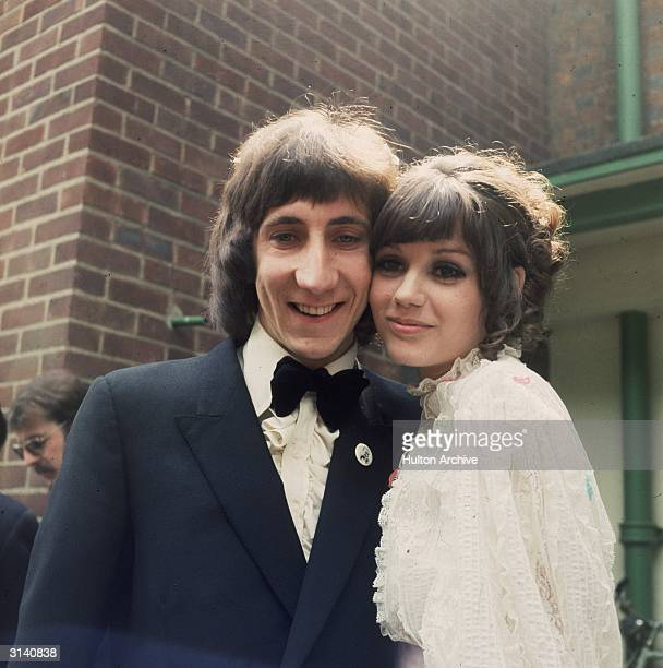 Pete Townshend, guitarist and songwriter of British rock group The Who, on his wedding day with his wife Karen Astley.