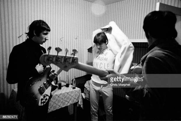 Pete Townshend Keith Moon and John Entwistle of The Who backstage at a concert played without Roger Daltrey at Wimbledon Palais on May 13th 1966 in...