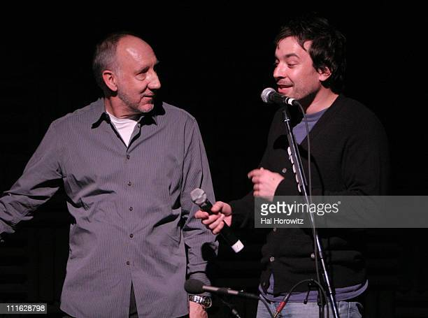 Pete Townshend of The Who and Jimmy Fallon during Pete Townshend of The Who and Rachel Fuller Hold Attic Jam Show at Joe's Pub February 20 2007 at...