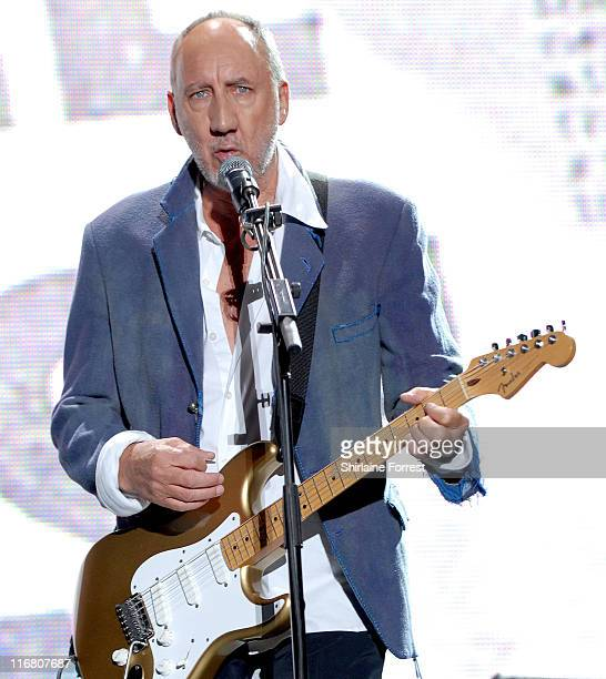 Pete Townshend of The Who during 2007 Glastonbury Festival - Day 3 at Worthy Farm in Pilton, Somerset.