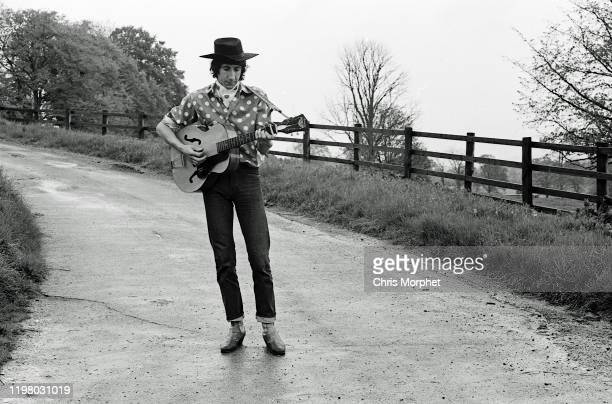 Pete Townshend of The Who during the making of the film 'The Lone Ranger' United Kingdom 1968 He is playing a Harmony Patrician acoustic guitar