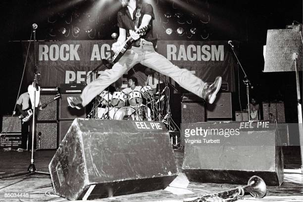 Pete Townshend Of The Who jumping in the air while performing at a Rock Against Racism Southall benefit show The Rainbow Theatre London 13th July 1979