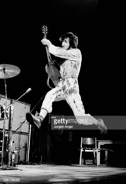 Pete Townshend of The Who leaps in the air on stage at Falkoner Centret in Copenhagen, Denmark on 20th September 1970.