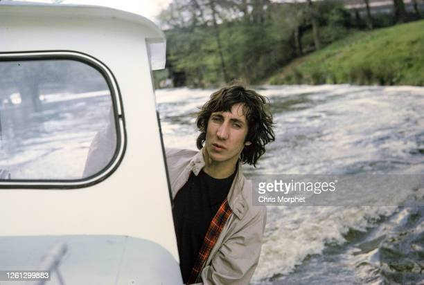 Pete Townshend of The Who on boat, River Thames, Richmond Upon Thames, London, April 1968.
