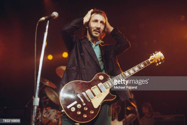 Pete Townshend of The Who performs live on stage at the Capitol Theater, Passaic, New Jersey on 10th September 1979. Townshend plays his Wine Red...