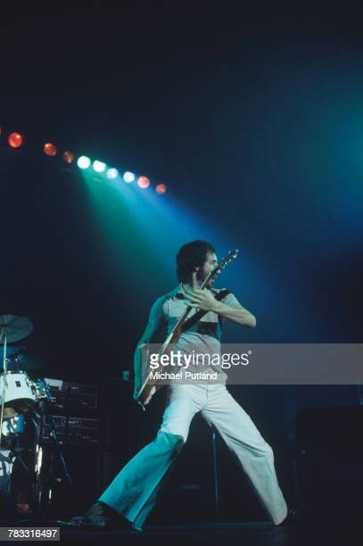 Pete Townshend of The Who performs live on stage at Wembley Empire Pool in London in October 1975