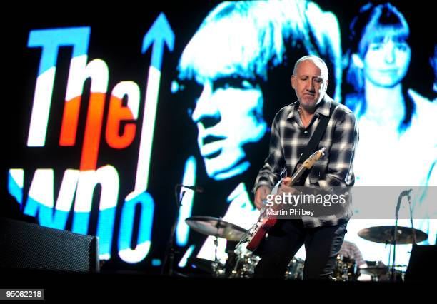 Pete Townshend of The Who performs on stage at the F1 Grand Prix after concert on March 29th 2009 in Melbourne Australia
