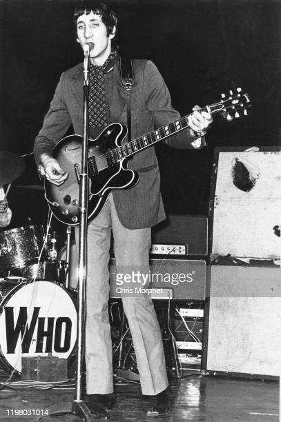 Pete Townshend of the Who performs on stage at the Saville Theatre in London on 29th Jaunary 1967 He is playing a Gibson ES345 guitar