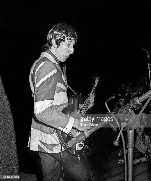 Pete Townshend of The Who performs on stage wearing a union jack jacket at the Queen's Hall Leeds on 14th October 1966.