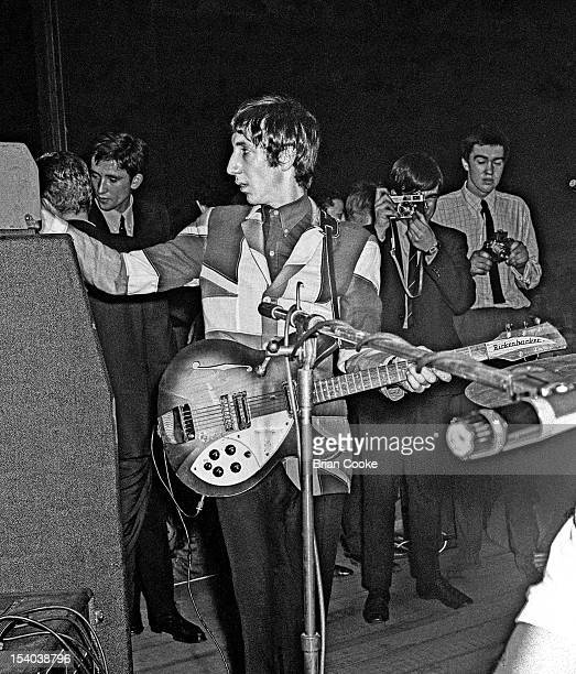 Pete Townshend of The Who performs on stage wearing a union jack jacket at the Queen's Hall Leeds on 14th October 1966. He plays a Rickenbacker Rose...