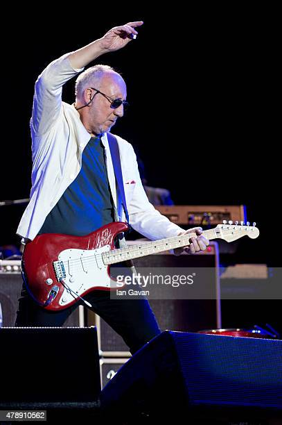 Pete Townshend of The Who performs on the Pyramid Stage at the Glastonbury Festival at Worthy Farm Pilton on June 28 2015 in Glastonbury England Now...