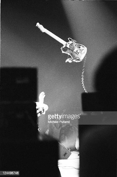 Pete Townshend of The Who throws his guitar in the air on stage at Madison Sqaure Garden, New York, USA, September 1979.