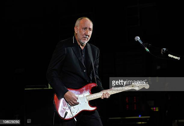 Pete Townshend performs onstage during 'A Concert For Killing Cancer' at Hammersmith Apollo on January 13, 2011 in London, England.