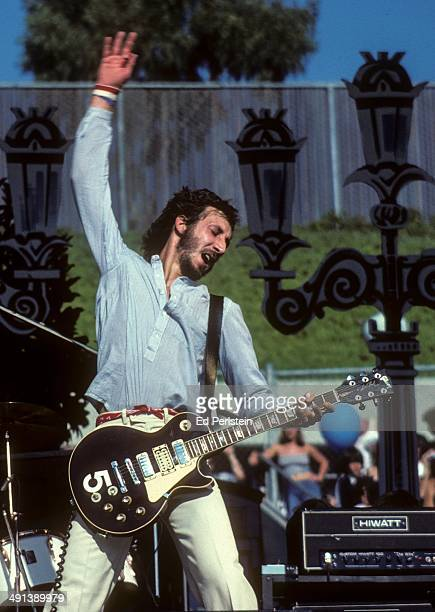Pete Townshend performs with The Who at Oakland Stadium in October 1976 in Oakland, California.
