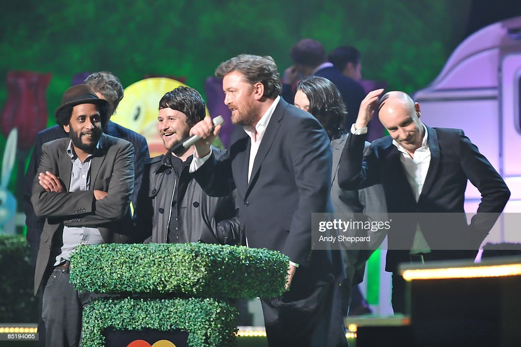 L-R Pete Turner, Mark Potter, Guy Garvey and Richard Jupp of Elbow accept the Best British Group Award at the 2009 Brit Awards held at Earls Court on February 18, 2009 in London.