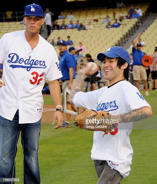 Pete Wentz and Blake Griffin top draft pick of the Los Angeles Clippers posing before they both throw the ceremonial first pitch at Dodger Stadium in...