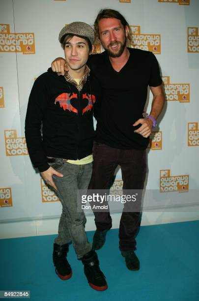 Pete Wentz and Damon Downey arrive for the announcement of the nominations for Vodafone MTV Australia Awards 2009 at the MTV Gallery on February 19...