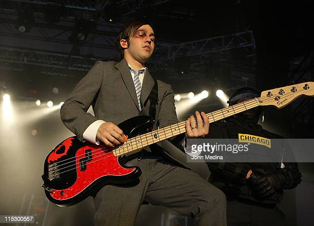 Pete Wentz and Fall Out Boy perform at the Event Center on the campus of San Jose State University on April 7, 2009 in San Jose, California.