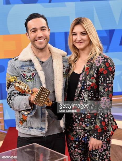 Pete Wentz and Julia Michaels attend the 2017 Billboard Music Awards Nominations Announcement at Good Morning America Studios on April 10 2017 in New...
