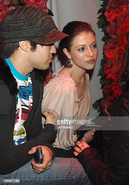 Pete Wentz and Michelle Trachtenberg during TMobile Launches Their Limited Editon Sidekicks Inside in Beverly Hills California United States
