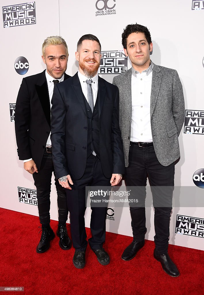 Pete Wentz, Andy Hurley and Joe Trohman of Fall Out Boy attend the 2015 American Music Awards at Microsoft Theater on November 22, 2015 in Los Angeles, California.