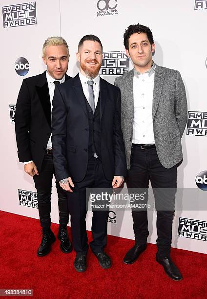 Pete Wentz Andy Hurley and Joe Trohman of Fall Out Boy attend the 2015 American Music Awards at Microsoft Theater on November 22 2015 in Los Angeles...