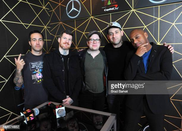 Pete Wentz Andy Hurley Patrick Stump Joe Trohman and Maxwell attend the Z100's Jingle Ball 2017 backstage on December 8 2017 in New York City