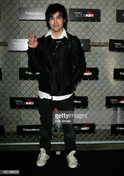 Pete Wentz arrives at the BlackBerry Pearl BlockParty at Carriageworks on June 17 2010 in Sydney Australia