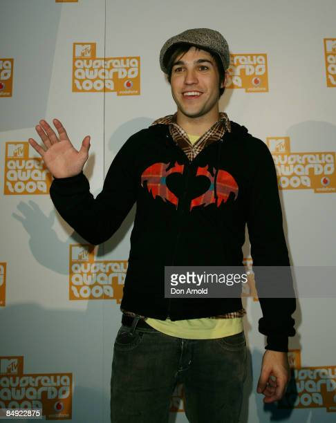 Pete Wentz arrives for the announcement of the nominations for Vodafone MTV Australia Awards 2009 at the MTV Gallery on February 19 2009 in Sydney...