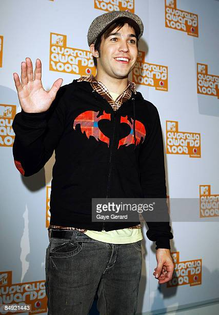 Pete Wentz from the band Fall Out Boy arrives for the announcement of the nominations for the Vodafone MTV Australia Awards 2009 at the MTV Gallery...