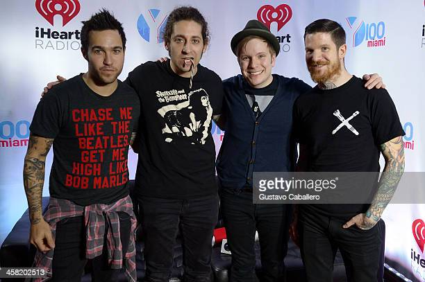 Pete Wentz Joe Trohman Patrick Stump and Andy Hurley of Fall Out Boy attend Y100's Jingle Ball 2013 Presented by Jam Audio Collection at BBT Center...