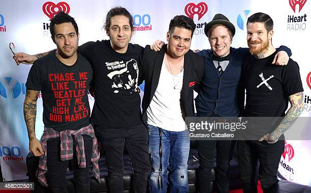 Pete Wentz Joe Trohman Y100's Mack Patrick Stump and Andy Hurley attend Y100's Jingle Ball 2013 Presented by Jam Audio Collection at BBT Center on...