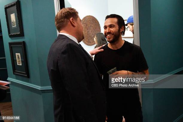 Pete Wentz of Fall Out Boy chats in the green room with James Corden during 'The Late Late Show with James Corden' Wednesday January 31 2018 On The...