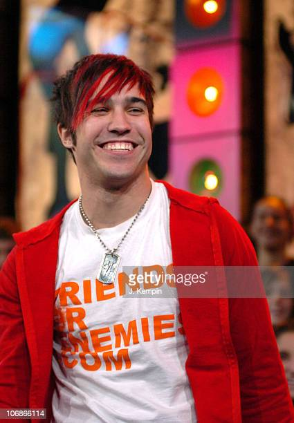 Pete Wentz of Fall Out Boy during Coheed and Cambria and Pete Wentz of Fall Out Boy Visit MTV's 'TRL' January 19 2006 at MTV Studios in New York City...