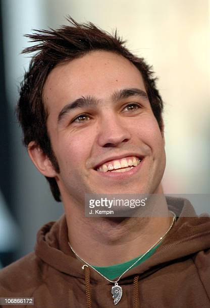 Pete Wentz of Fall Out Boy during Fall Out Boy and Aly AJ Visit MTV's TRL at MTV Studios in New York City New York United States