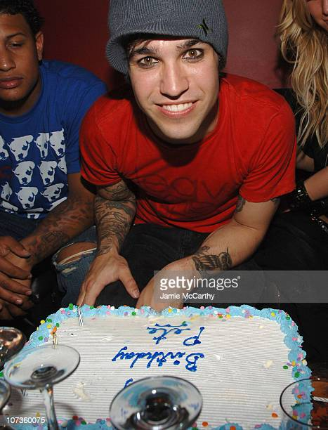 Pete Wentz of Fall Out Boy during Pete Wentz Birthday at Angels Kings June 5 2007 at Angels Kings in New York City New York United States