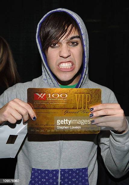 Pete Wentz of Fall Out Boy during Z100's Jingle Ball 2005 Artist Gift Lounge at Madison Square Garden in New York City New York United States