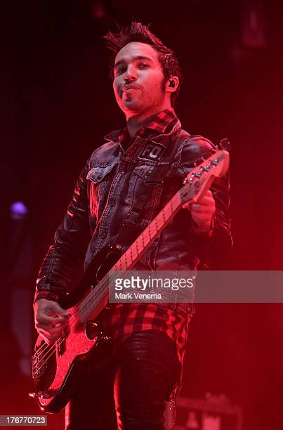 Pete Wentz of Fall Out Boy performs at day 3 of the Lowlands Festival on August 18 2013 in Biddinghuizen Netherlands