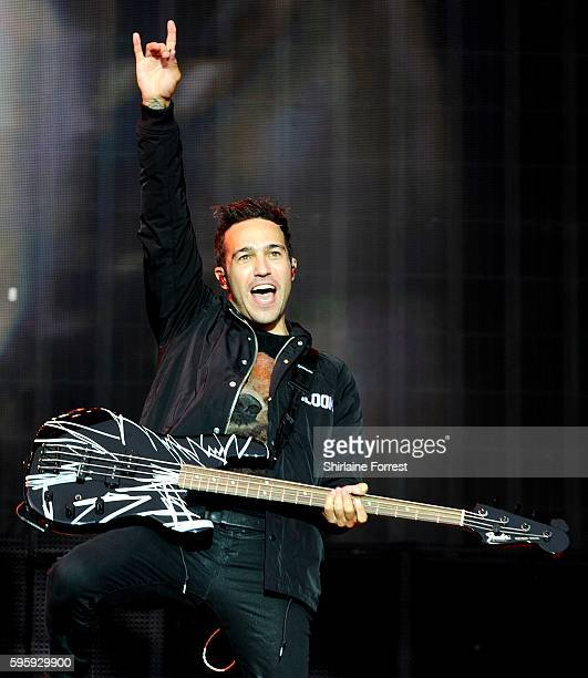 Pete Wentz of Fall Out Boy performs at Leeds Festival at Bramham Park on August 26 2016 in Leeds England
